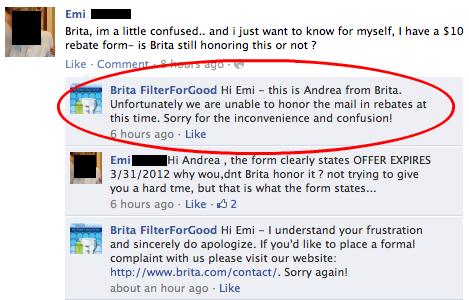 Brita not honoring rebate