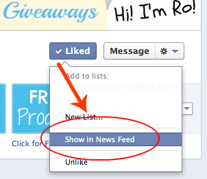 FB Timeline  Show in Newsfeed