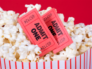 Movie tickets and popcorn